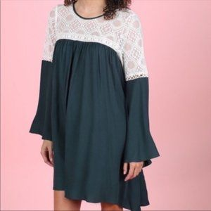 ALTAR'D STATE LACE BOHO BELL SLEEVE DRESS NEW